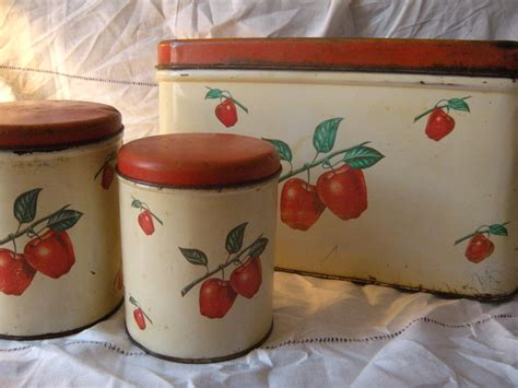 apple canisters for the kitchen vintage kitchen 1940s bread box and canister 3 apple set