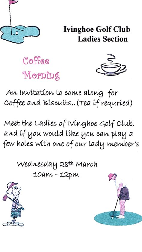 Ladies Section ? Invitation to Coffee Morning