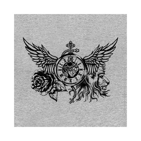 shirt time rose lion tattoo grey