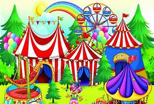 7x5FT Cartoon Kids Carnival Circus Tent Clown Ferris Wheel ...