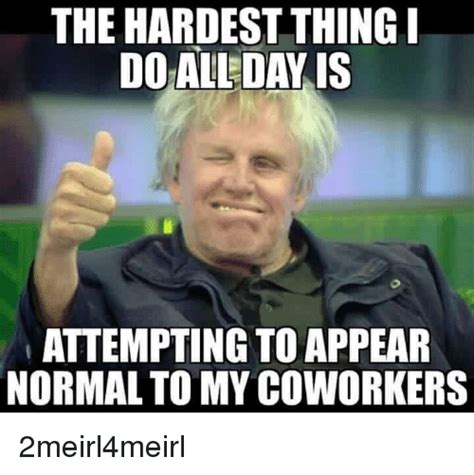 Funny Memes About Coworkers - the hardest thing doal day is attempting to appear normal to my coworkers coworkers meme on sizzle