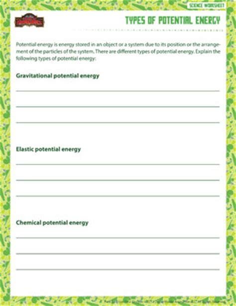 types of potential energy free and printable sixth grade science worksheet school of dragons