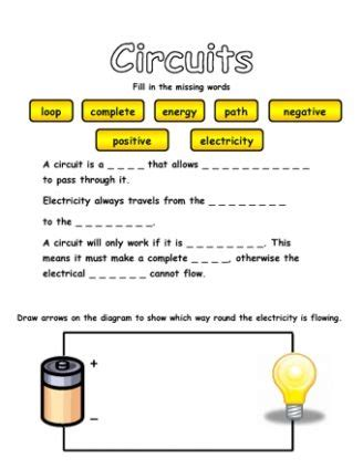 circuits and electricity grade 4 science worksheets