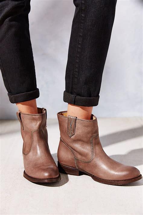 frye jamie stitch short ankle boot  grey brown lyst