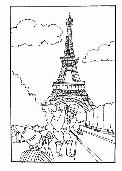 Coloring Eiffel Tower Drawing France Ausmalbilder Frankreich