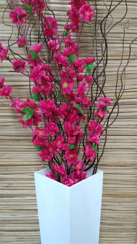 vaso de chao mdf  galhos secos flores artificiais pink