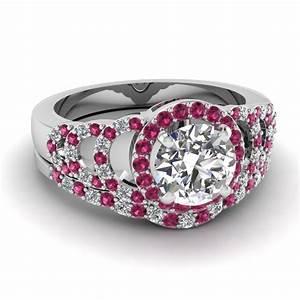 white gold round white diamond engagement wedding ring With pink diamond wedding ring set