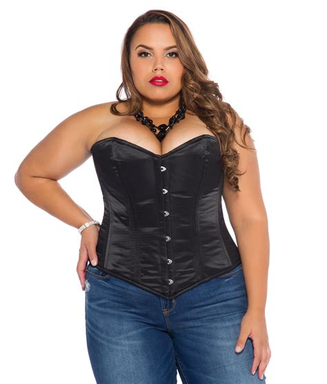 corset si鑒e black satin plus size corset overbust with steel bones