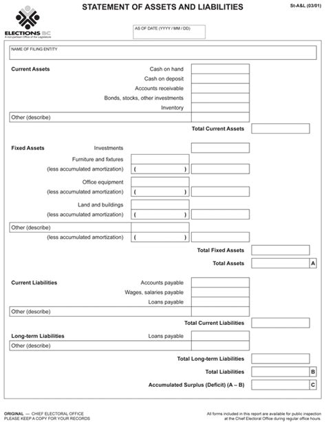 Asset And Liability Statement Template by Political And Constituency Association Financial