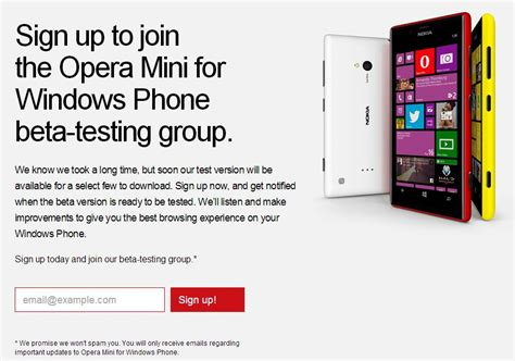 signup to opera mini for windows phone