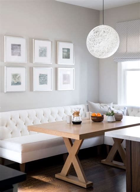 Grey Kitchen Ideas - grey walls white banquette breakfast nook impractical unless made with white faux leather