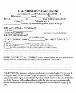 music agreement contract pricing band partnership With music performance contract template