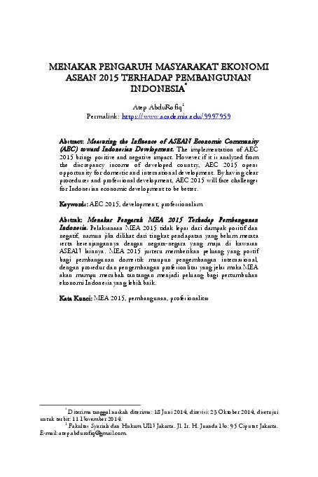 (PDF) MENAKAR PENGARUH MASYARAKAT EKONOMI ASEAN 2015