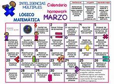 MARZO 2017 Calendario homework INTELIGENCIAS MÚLTIPLES