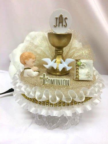 handcrafted  holy communion boy cake topper