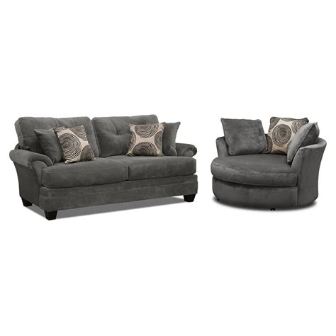 Swivel Loveseat by Cordelle Sofa Loveseat And Ottoman Set Gray
