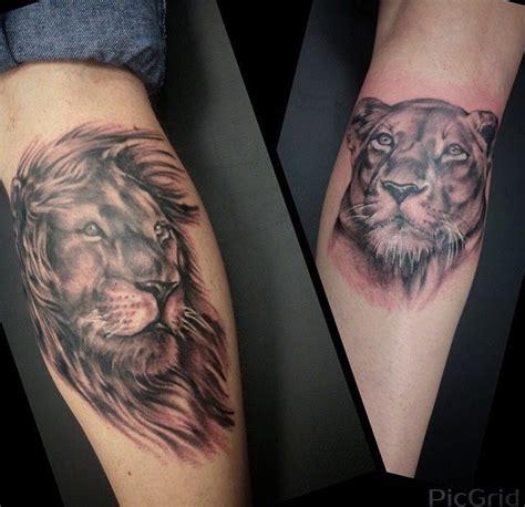 husband  wife matching tattoos realistic lion