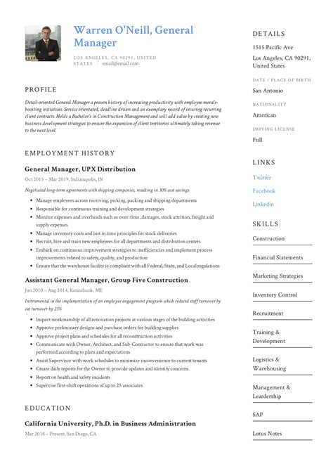 general manager resume writing guide  resume