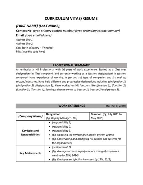 Total Years Of Experience In Resume by Resume Cv Sle Format Human Resources Hr Work