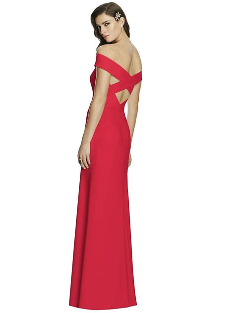 dessy collection   shoulder crepe bridesmaid gown