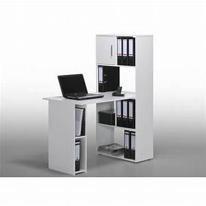 Bureau Blanc Avec Rangement : bureau informatique contemporain avec rangement blanc ylas ~ Teatrodelosmanantiales.com Idées de Décoration