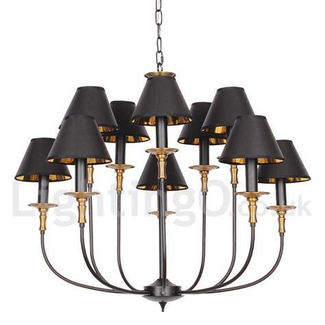 Large Lantern Style Chandelier - 10 light rustic retro black bar 2 tier large chandelier