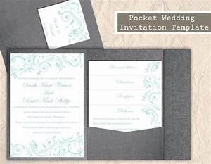 pocket wedding invitation template set diy instant With wedding invitation template aqua blue