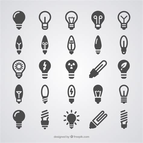 light bulb icons vector free