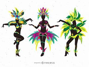 Carnival dancers silhouette illustrations - Vector download