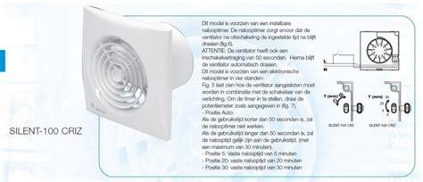 badkamer ventilator tijdschakelaar silent 100criz 100mm vertraagde start automatische