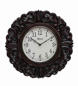 Medieval india brown round wooden carved wall clock by for Wooden wall clocks india