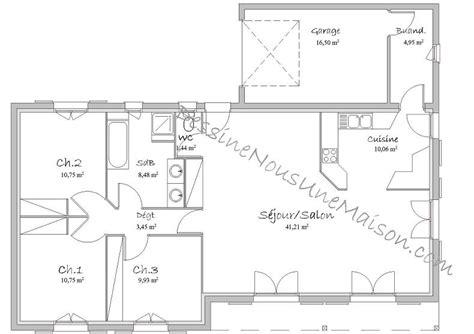 plan maison plain pied 3 chambres avec garage plan maison plein pied 100m2 avec garage