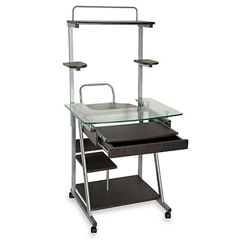 computer desk with casters glass top computer desk with casters black bed bath