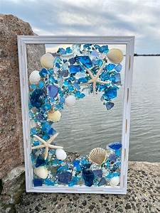 Free, Shipping, 12x18, Beach, Glass, And, Shells, With, Mermaid, In, A, Frame, In, 2020