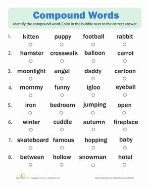 compound words quiz worksheet education