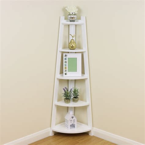White 5 Tier Tall Corner Shelf/Shelving Unit Display Stand