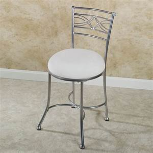 Silver metal vanity chair with back decofurnish for Bathroom vanity stools or chairs