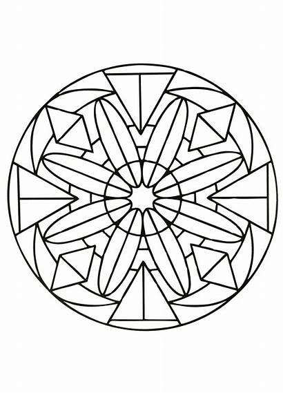 Mandala Mandalas Coloring Easy Simple Geometric Pages