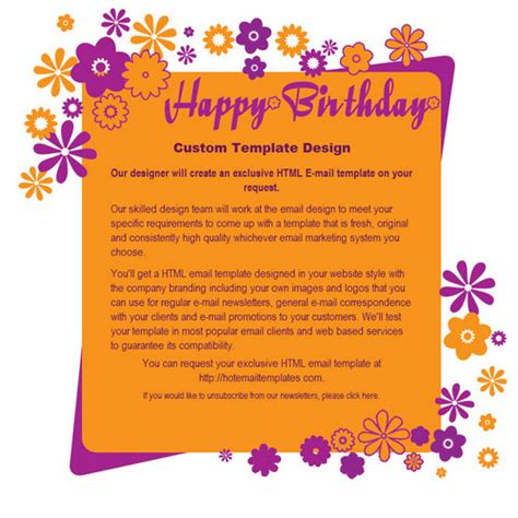 free happy birthday template happy birthday free html e mail templates