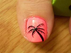 hot pink with black palm tree | nail designs to try ...