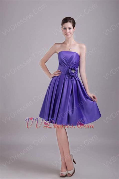 strapless knee length skirt blue violet  prom dress  sale