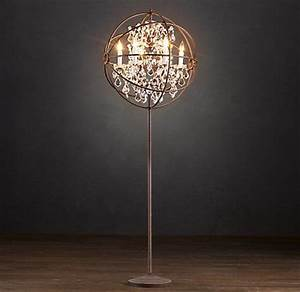 Foucault39s orb crystal floor lamp 1395special 1175 the for Restoration hardware floor lamp glass