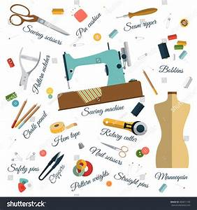 Color Set Objects Sewing Names Handicraft Stock Vector ...