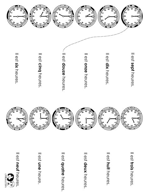 time worksheet french french class worksheets spanish
