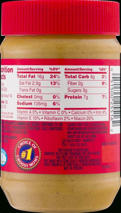 nutrition label  jif peanut butter nutrition labels