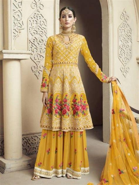 yellow viscose sharara suit   indian wedding