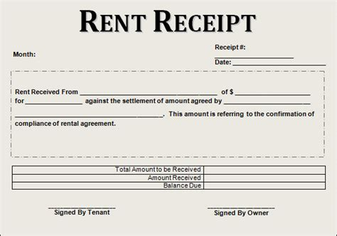 rent receipt template 13 free documents in pdf