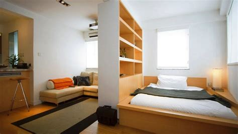 bedroom design for apartment studio apartment bedroom interior design ideas with wood bed and white linen also wooden shelves
