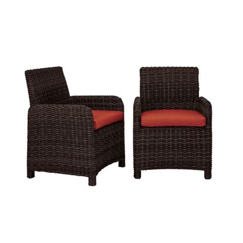 brown northshore patio dining chair with cinnabar