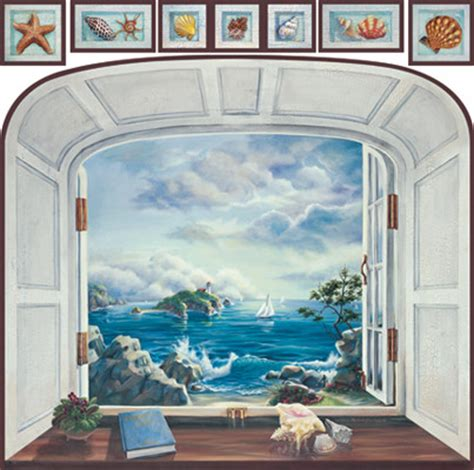 sticker trompe l oeil mural coastal view trompe l oeil window mural style wall decals by trisha selgrath rtz